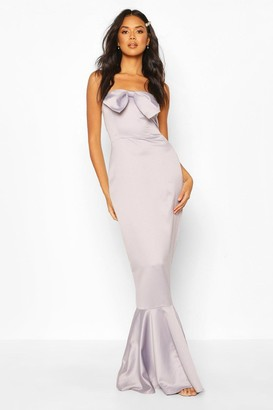 boohoo Bridesmaid Satin Bow Front Fishtail Maxi Dress