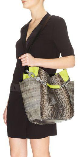 Jimmy Choo Anna Neon Lime and Natural Karung and Watersnake Mix Shoulder Bag