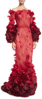 Marchesa Ombre Chantilly Lace Petal-Trim Gown, Red