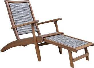 Outdoor Interiors Grey Wicker & Eucalyptus Lounger