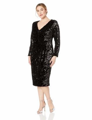 Dress the Population Women's Size Elizabeth Plunging Sequin Midi Long Sleeve Sheath Dress Plus