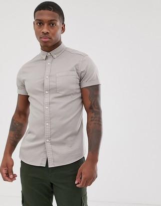 Asos Design DESIGN stretch slim denim shirt in light grey