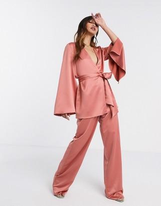 Asos DESIGN soft satin 3 piece suit wide leg pants