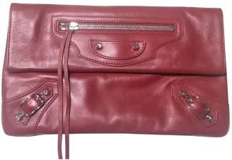 Balenciaga Classic Metalic Red Leather Clutch bags