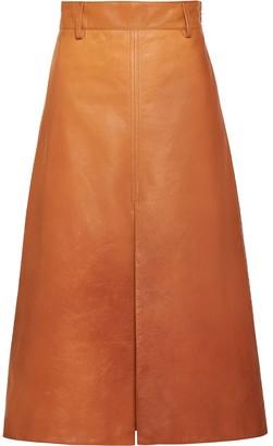 Prada lambskin leather A-line skirt