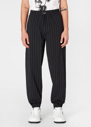 Paul Smith Men's Black Pinstripe Stretch-Cotton Drawstring Pants