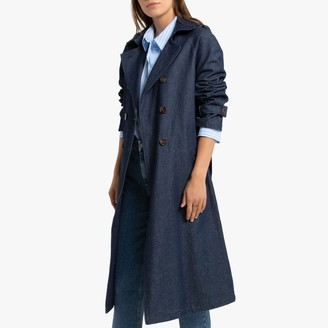 La Redoute Collections Long Denim Trench Coat with Double-Breasted Fastening and Pockets
