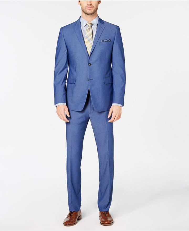 Perry Ellis Men Slim-Fit Stretch Wrinkle-Resistant Solid Textured Suit