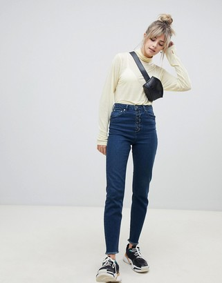 Asos DESIGN Farleigh high waisted slim mom jeans in dark london blue wash with exposed button fly