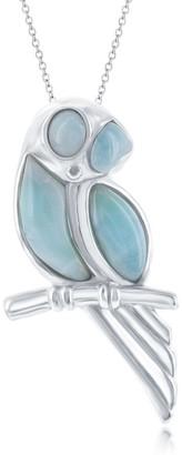 La Preciosa Sterling Silver High Polish Owl on a Branch 18'' Pendant Necklace