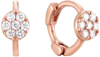 Seol + Gold 18ct Rose Gold Vermeil Tiny Pave Cz Circle Huggie Earrings