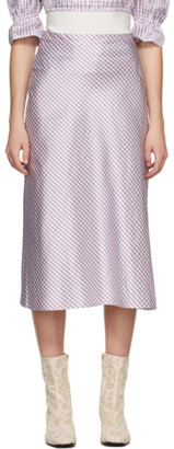 Brock Collection Purple Silk Smilla Vichy Skirt