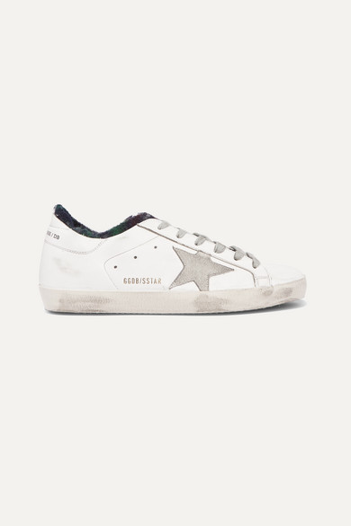 Golden Goose Superstar Distressed Flannel-lined Leather Sneakers - White