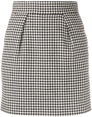 Alexandre Vauthier Houndstooth Fitted Skirt