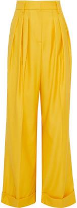Emilia Wickstead Francis Pleated Wool-gabardine Wide-leg Pants