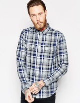 Lee Regular Fit Shirt Melee Dobby Check In Night Blue
