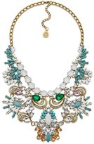 All This and Brains Too Necklace by 7 Charming Sisters. Statement Necklace with Green and White Crystals