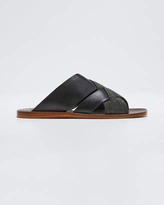 Brunello Cucinelli Flat Monili & Leather Crossover Sandals