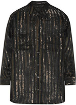 Kate Moss for Equipment - Daddy Metallic Striped Silk-chiffon Shirt - Black