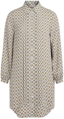 Tory Burch Cora Model Shirt Dress In Ivory Crepe With Multicolor Batik Print