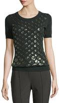 Escada Eve Sequined-Dot Short-Sleeve Sweater, Fir