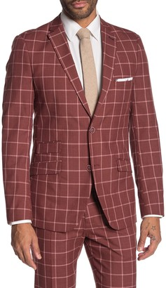 Paisley & Gray Dover Rust Windowpane Two Button Notch Lapel Slim Fit Suit Separates Jacket