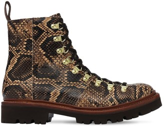 Grenson 30mm Nanette Snake Print Leather Boots