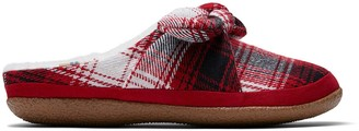 Toms Red Plaid and Bow Women's Ivy Slippers