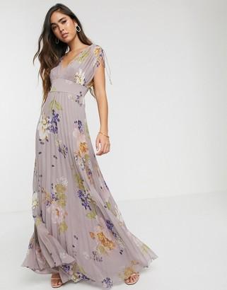 Asos Design DESIGN sleeveless pleated floral print maxi dress