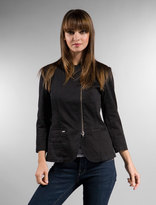 Iggy Zip Front Double Breasted Blazer in Black