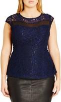 City Chic Plus Size Women's 'Mysterious' Cap Sleeve Lace Top