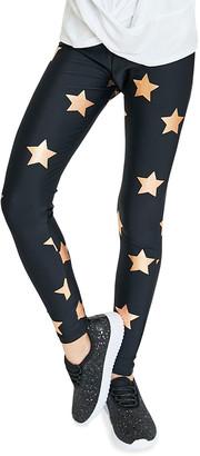 Terez Girl's Foiled Star-Print Leggings, Size 4-6X
