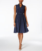 Charter Club Petite Dot-Print Belted Shirtdress, Only at Macy's