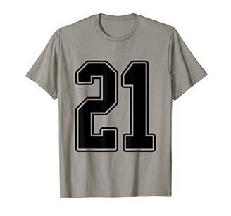 Black Outline Number 21 Sports Fan Jersey Style T-Shirt