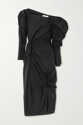 REJINA PYO Andi Ruched Cotton-poplin Midi Dress - Black
