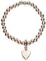 John Lewis Ball Bead Heart Charm Stretch Bracelet, Gold