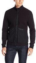 Perry Ellis Men's Mix Media Full Zip Sweater