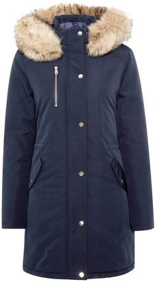 Dorothy Perkins Luxe Faux Fur Trim Parka Coat - Navy
