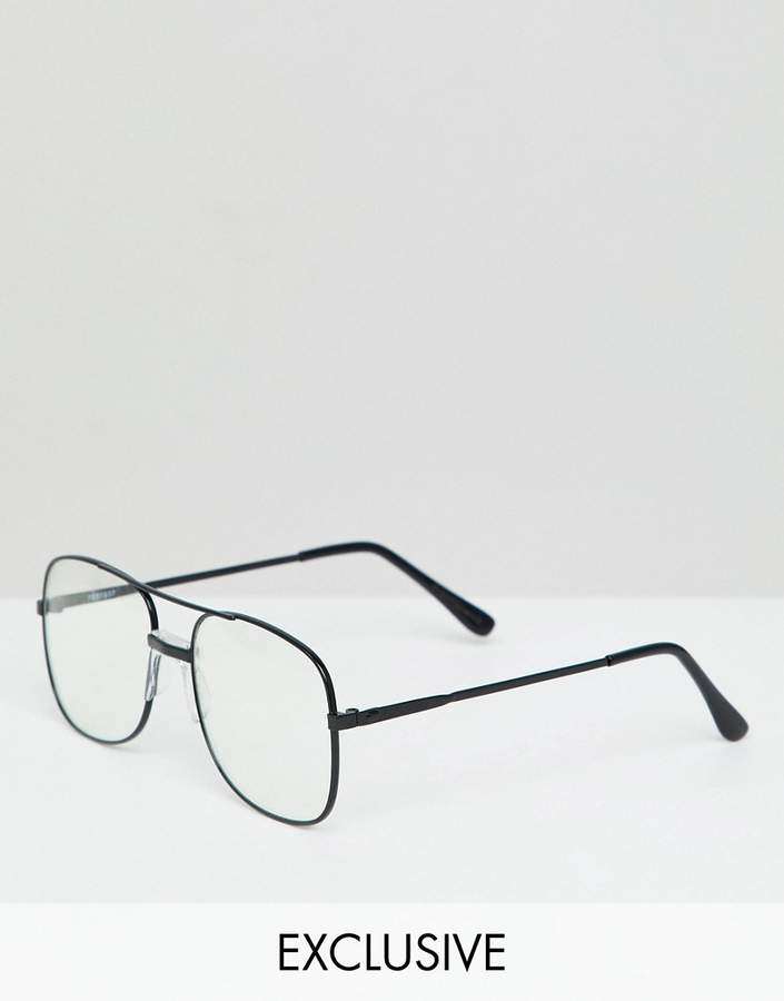 Reclaimed Vintage Inspired Aviator Clear Lens Glasses In Black