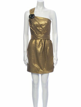 Matthew Williamson One-Shoulder Mini Dress Gold