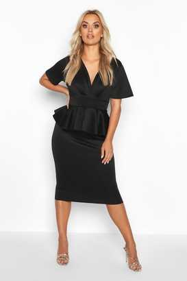 boohoo Plus Wrap Front Peplum Midi Dress