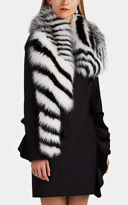 Valentino Women's Striped Fox Fur Collar - Wht.&blk.