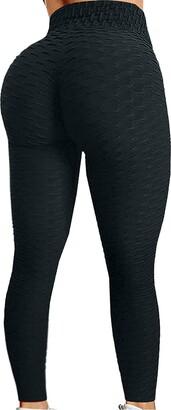 OPALLEY Women Honeycomb Anti Cellulite Waffle Leggings High Waist Yoga Pants Bubble Textured