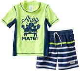 "Carter's Toddler Boy Ahoy Matey"" Pirate Crab Rashguard & Swim Trunks Set"