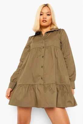 boohoo Petite Tiered Shirt Smock Dress