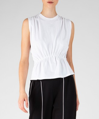 Atm Tuck Detail Sleeveless Cotton Tee - White