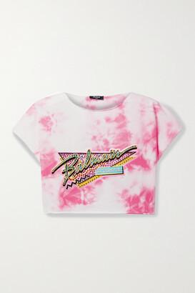 BALMAIN - Cropped Embellished Tie-dyed Cotton-jersey T-shirt - Pink