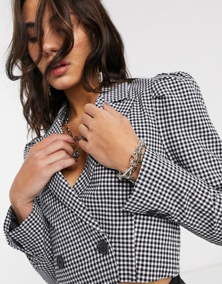 Bershka cropped gingham blazer with puff sleeve in monochrome
