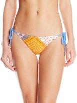 MinkPink Women's Sunset Patchwork Side Tie Bikini Bottom