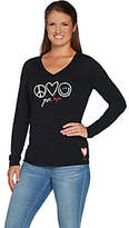 Peace Love World Give Love Knit Top w/ NoveltyArtisan Patch